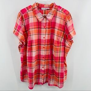 St. John Bay Pink Gray Plaid Button Up Blouse